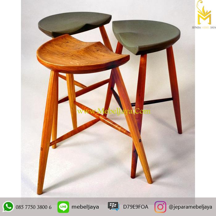 Jual Kursi Bar Jati 3 Kaki Unik Vintage Jepara Mebel Jaya
