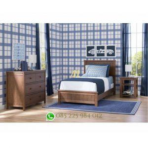 set tempat tidur kayu minimalis