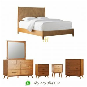 set tempat tidur minimalis retro jati