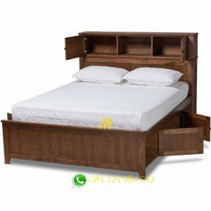 tempat tidur storage jati